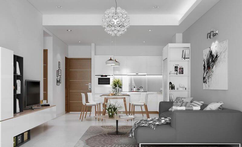 thiết kế nội thất căn hộ chung cư AirPort Plaza phòng khachs đẹp