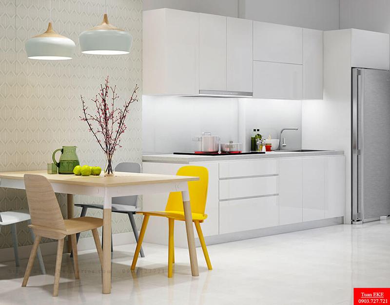 mẫu thiết kế nội thất căn hộ galaxy9 diện tích 50m2 phòng bếp