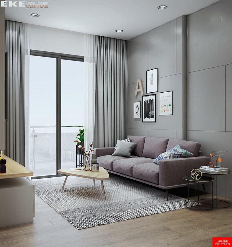 thiết kế nội thất căn hộ chung cư 60m2 masteri phòng khách
