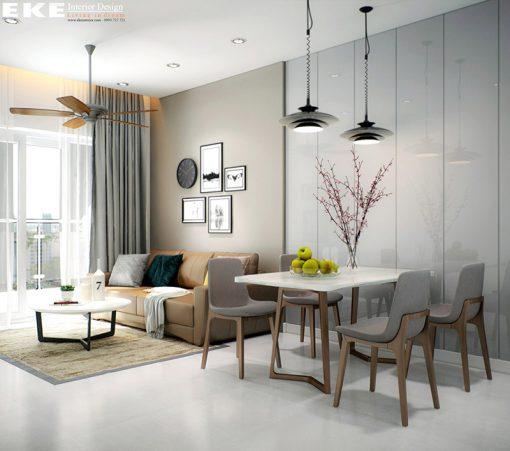 Thiết kế nội thất căn hộ chung cư Botanica 68m2 phòng ăn