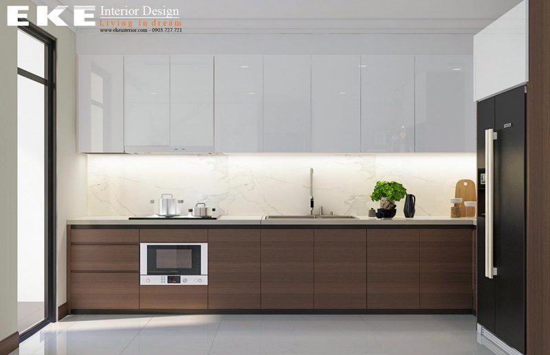 thiết kế nội thất căn hộ chung cư vinhome central park phòng bếp