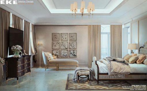 thiết kế nội thất biệt thự cổ điển phòng ngủ sang trọng