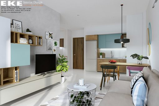 Thiết kế nội thất căn hộ the sun avanue diện tích 72m2-phòng khách