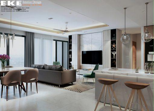 thiết kế nội thất căn hộ Sunrise City View- bếp đảo