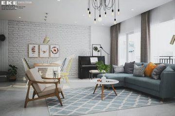 Thiết kế nội thất chung cư căn hộ Sunrise Riverside 96m2 - phòng khách