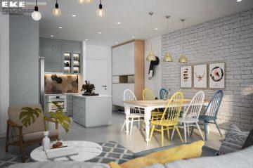 Nội thất căn hộ chung cư Sunrise Riverside 95m2 - bếp và bàn ăn