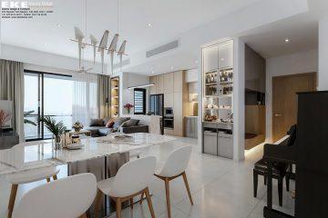 nội thất căn hộ chung cư 2 phòng ngủ River Park Premier phòng ăn