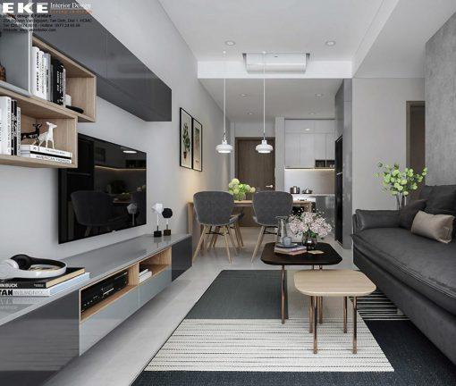 thiết kế nội thất căn hộ Newton phòng khách