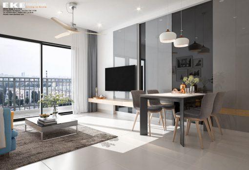 Thiết kế nội thất căn hộ chung cư The Sun Avenue 89m2 - Phòng khách