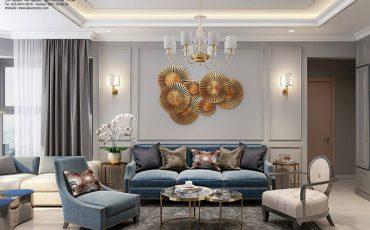 thiết kế nội thất căn hộ tân cổ điển- phòng khách