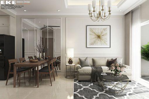 Nội thất căn hộ Golden Mansion 60m2- phòng khách
