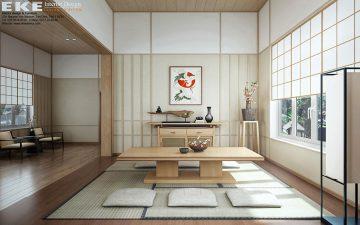 Thiết kế nội thất biệt thự phong cách nhật - phòng trà