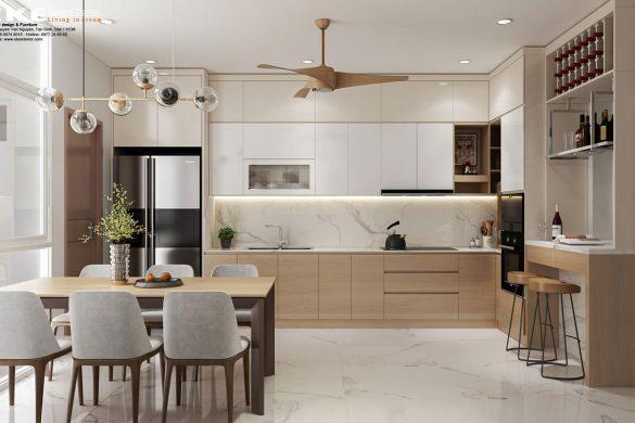 Thiết kế cải tạo nội thất nhà phố- phòng ăn bếp