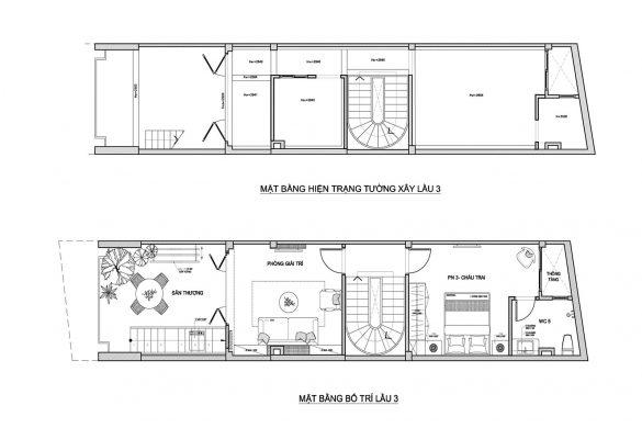 Thiết kế cải tạo nhà phố 1 trệt 2 tầng lầu