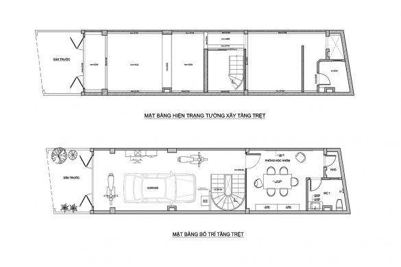 Mặt bằng hiện trạng nhà phố trước và sau khi thiết kế cải tạo