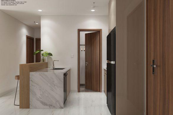 Mẫu thiết kế nội thất căn hộ Kingdom 2 phòng ngủ 77m2