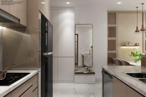 Thiết kế nội thất căn hộ chung cư kingdom 2 phòng ngủ-Bếp
