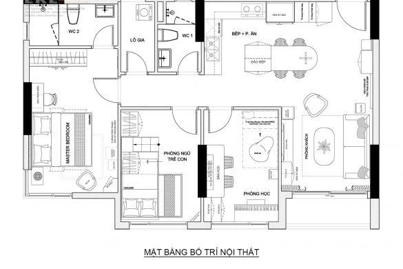 Mặt bằng nội thất chung cư Safira 85m2