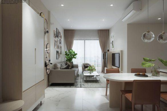 Thiết kế nội thất phòng khách chung cư Safira Khang Điền q9